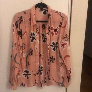 Pink floral button down blouse